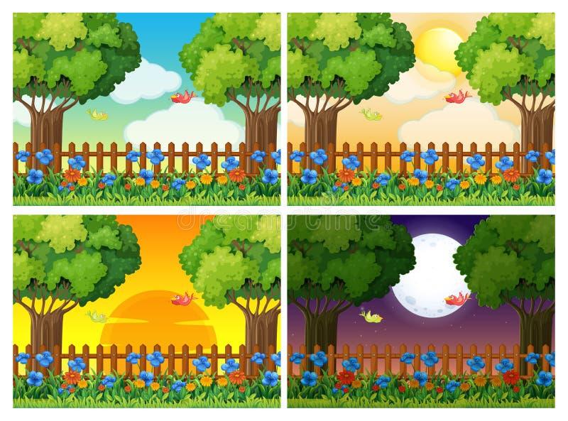 Quatro cenas do jardim em horas diferentes ilustração stock