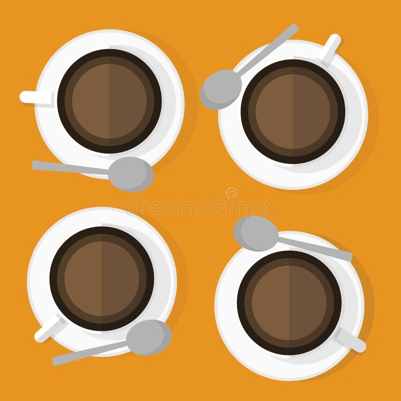 Quatro copos de cafés com vetor branco da placa ilustração royalty free
