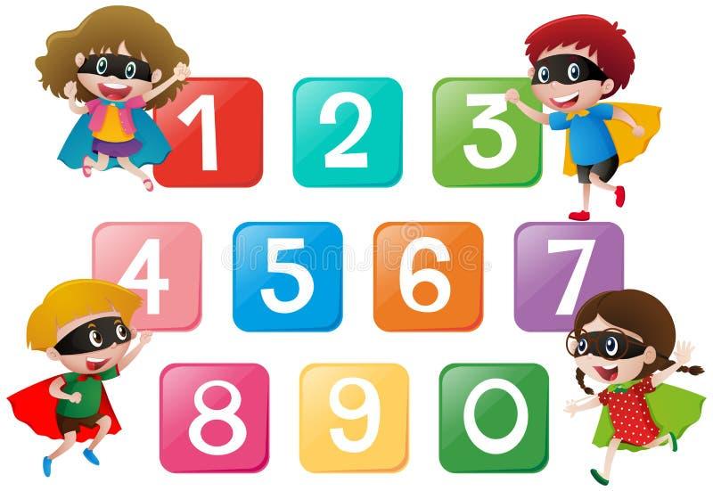 Quatro crianças e números um zero ilustração stock