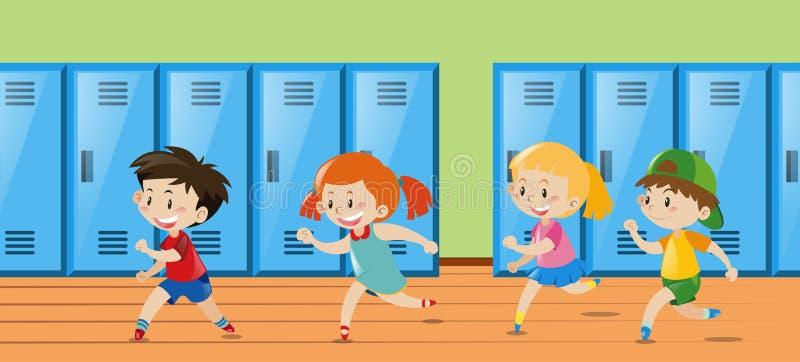 Quatro crianças que correm no vestuário ilustração stock