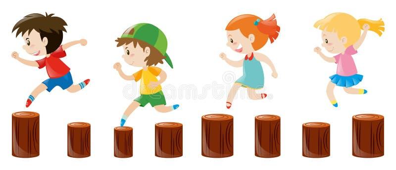 Quatro crianças que correm nos logs ilustração do vetor