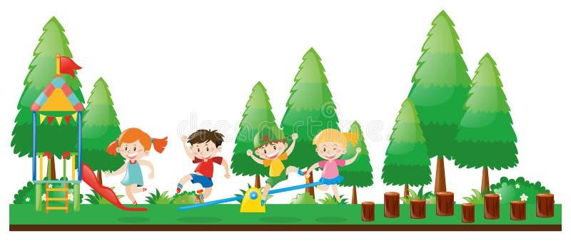 Quatro crianças que jogam no campo de jogos ilustração royalty free