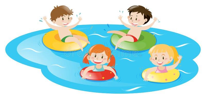 Quatro crianças que nadam na associação ilustração royalty free