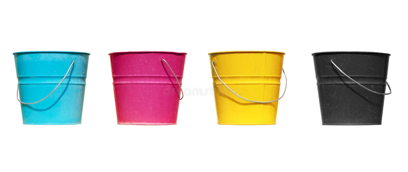 Quatro cubetas de cores diferentes fotos de stock royalty free