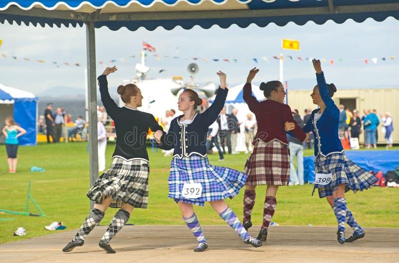 Quatro dançarinos das montanhas em Nairn. imagem de stock royalty free