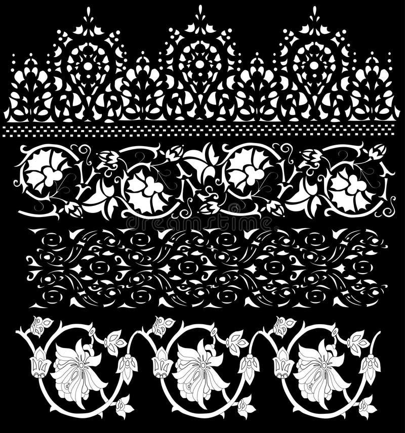 Quatro decorações florais brancas ilustração royalty free