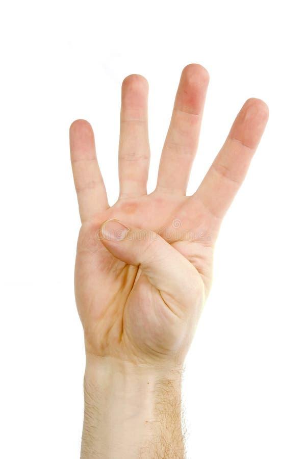 Quatro dedos isolaram-se fotografia de stock