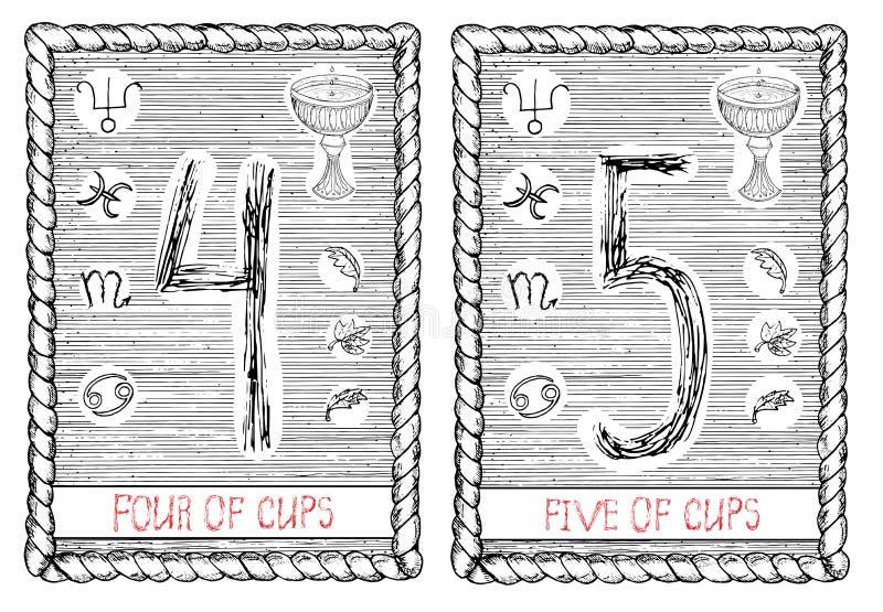 Quatro e cinco dos copos O cartão de tarô ilustração stock