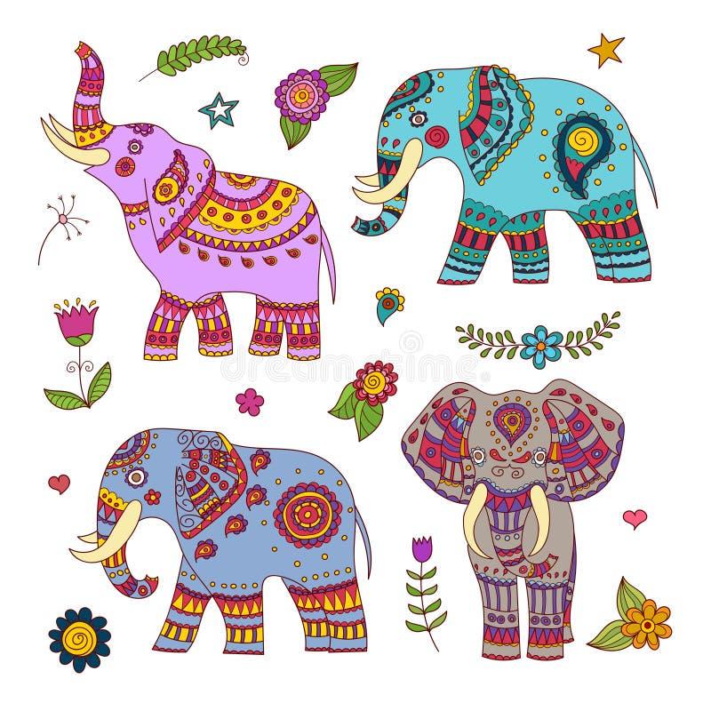Quatro elefantes do vetor da garatuja e elementos florais para o projeto imagens de stock
