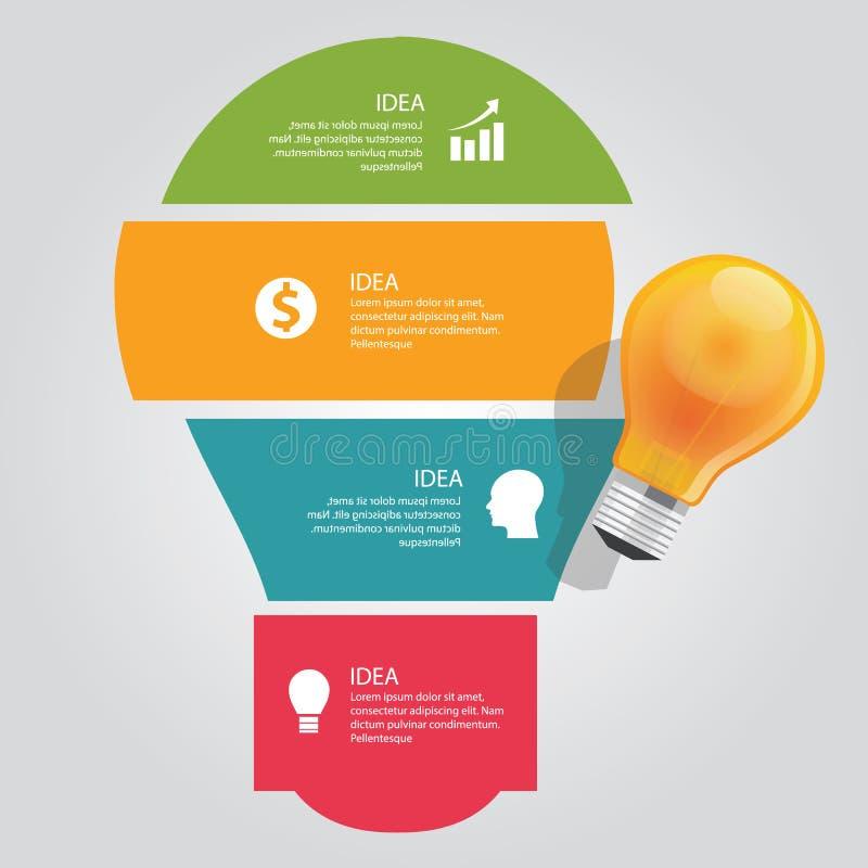 Quatro 4 elementos do negócio gráfico do bulbo do vetor da sobreposição da carta da informação da ideia brilham ilustração royalty free