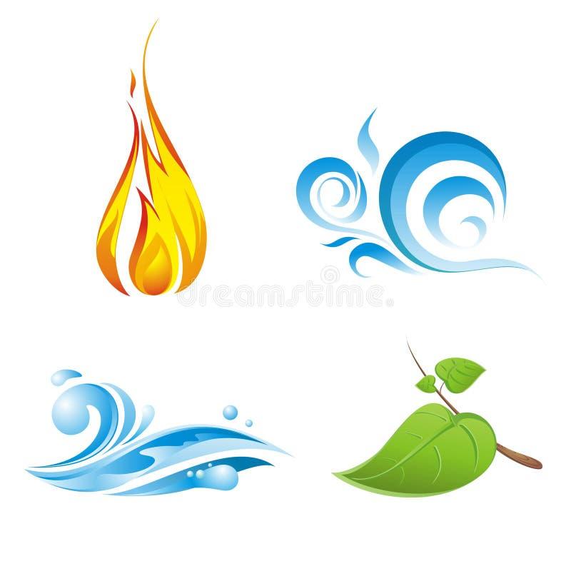 Quatro elementos do vetor da natureza isolados ilustração royalty free