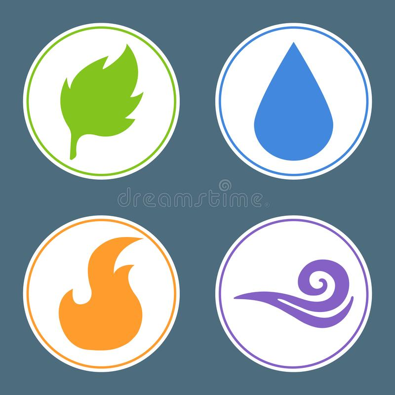 Quatro elementos: Fogo, água, terra, ar Etiquetas do elemento da natureza Ilustração do vetor para sua água fresca de design ilustração stock