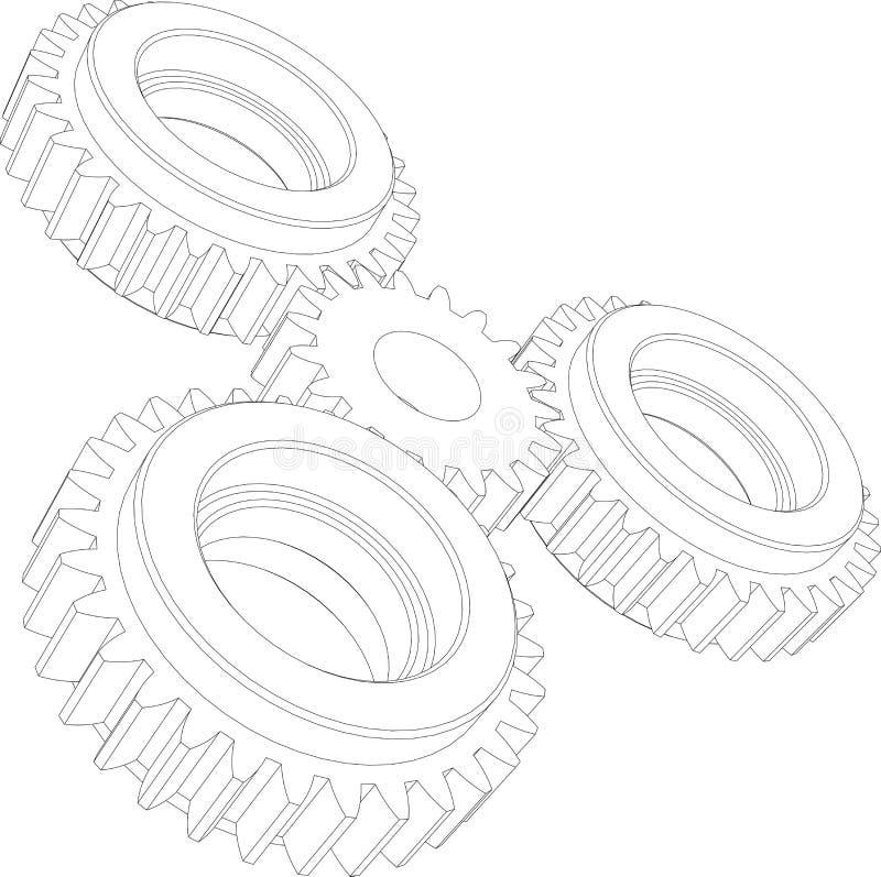 Quatro engrenagens do fio-quadro Opinião de perspectiva Vetor ilustração royalty free