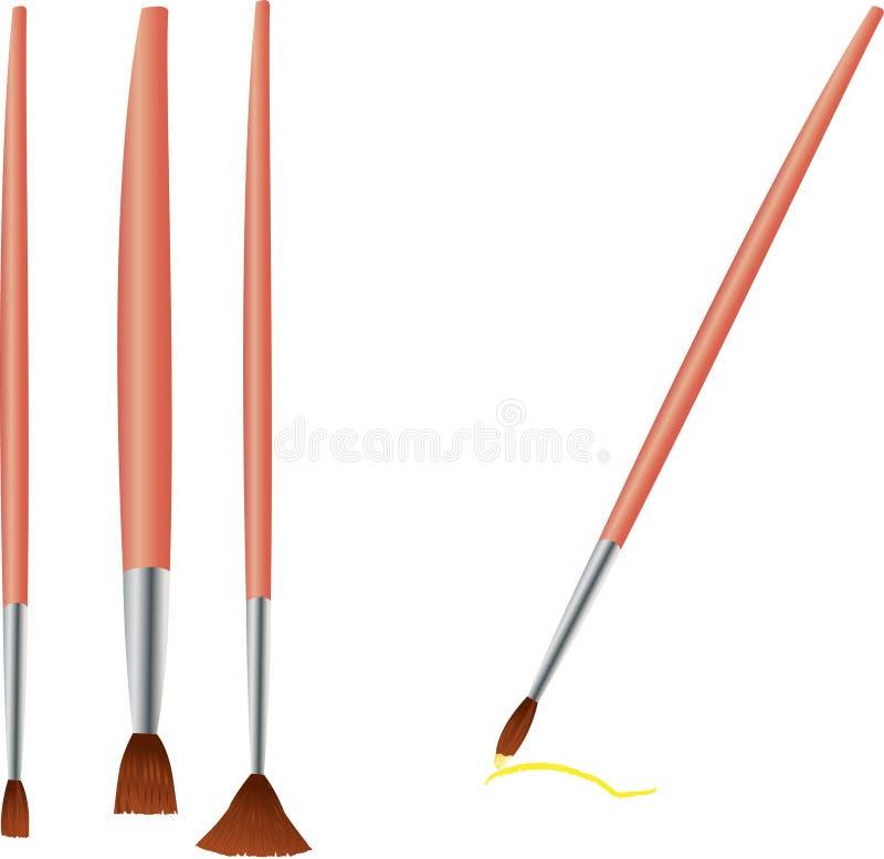 Quatro escovas diferentes para a pintura ilustração do vetor