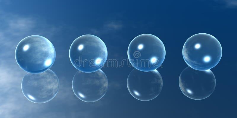 Quatro esferas de vidro ilustração royalty free