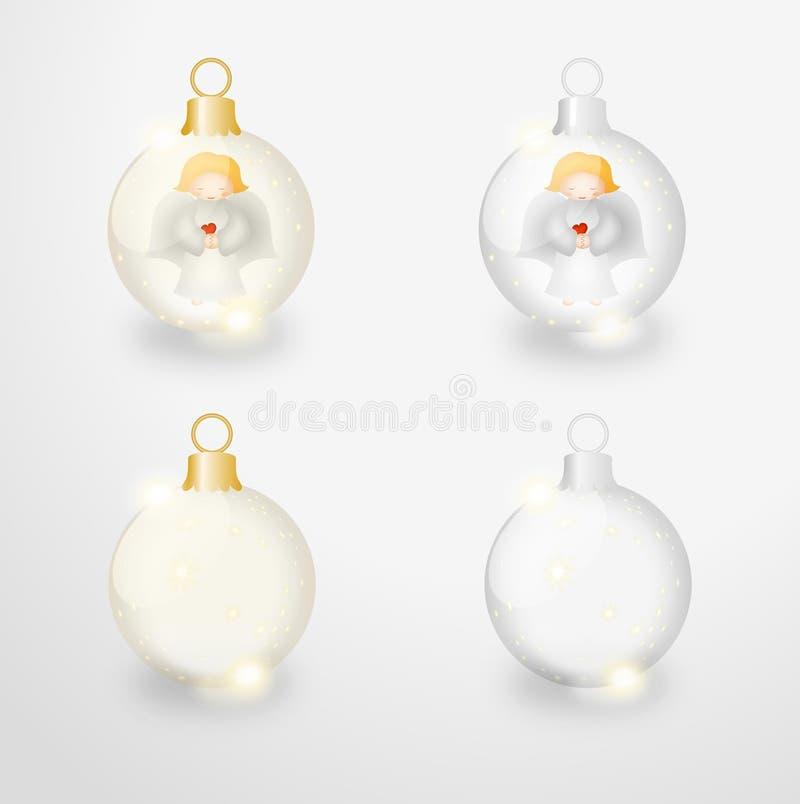 Quatro esferas de vidro do Natal com anjos e estrelas ilustração stock