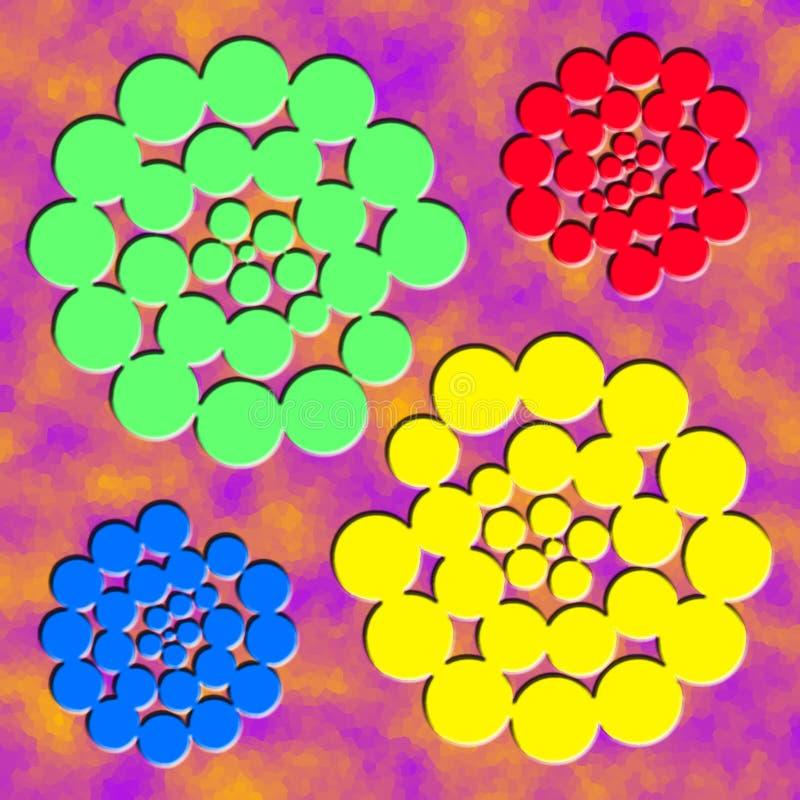 Quatro espirais amarelas azuis verdes vermelhas abstratas no fundo roxo da nuvem Espirais situadas em cantos da ilustração ilustração royalty free