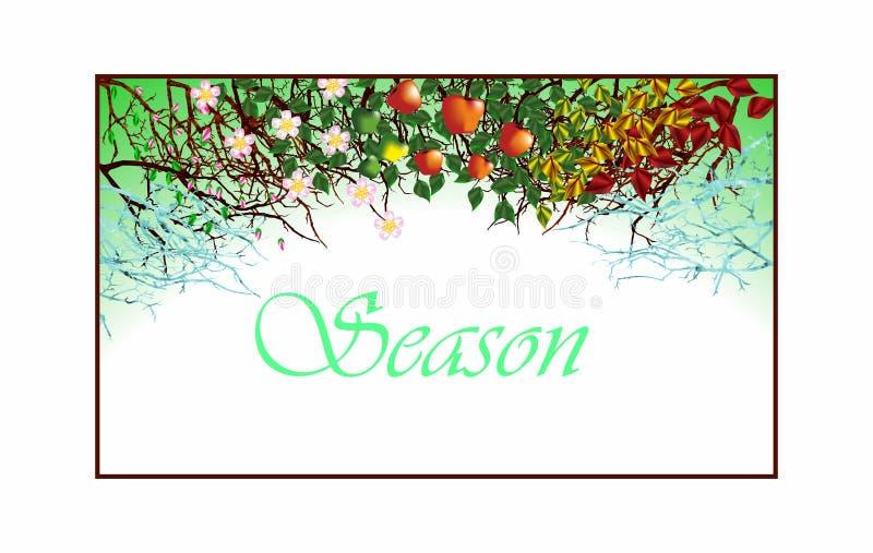 Quatro estações Árvore de Apple, todo o ano ilustração stock