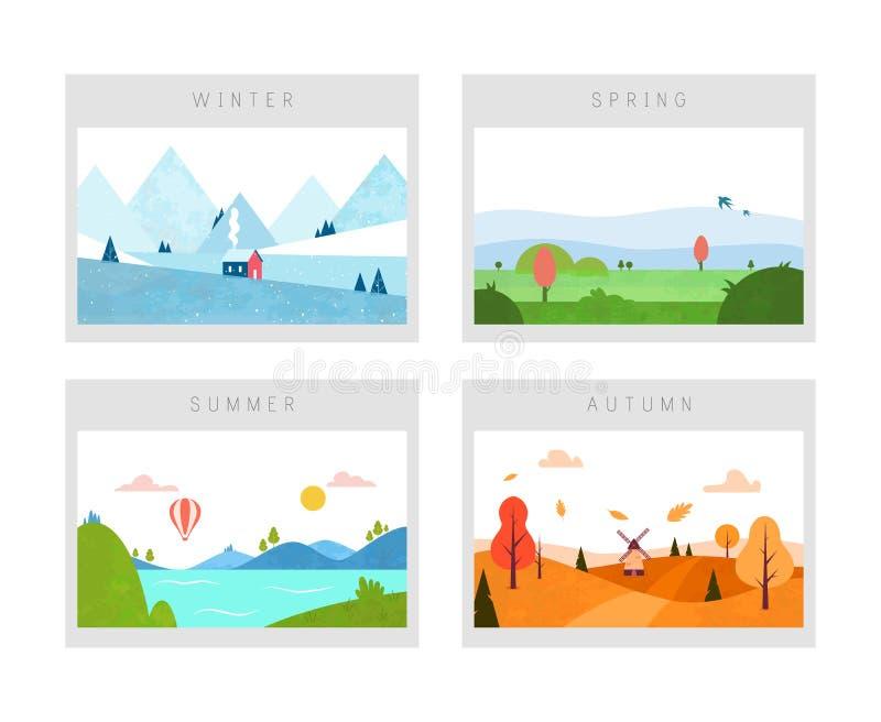 Quatro estações: cenas do inverno, da mola, do outono e do verão Paisagem da natureza Estilo liso mínimo Vetor ilustração stock
