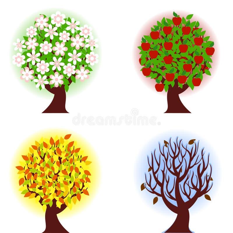 Quatro estações da árvore de maçã. ilustração stock