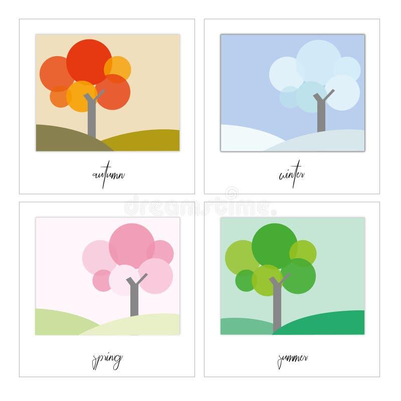 Quatro estações da árvore e da paisagem no quadro ilustração do vetor