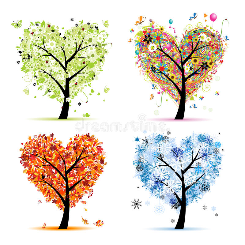 Quatro estações. Forma do coração da árvore da arte ilustração stock