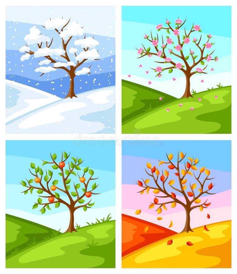Quatro estações Ilustração da árvore e da paisagem no inverno, mola, verão, outono ilustração do vetor