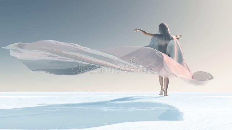 Quatro estações, mulher no inverno ilustração royalty free