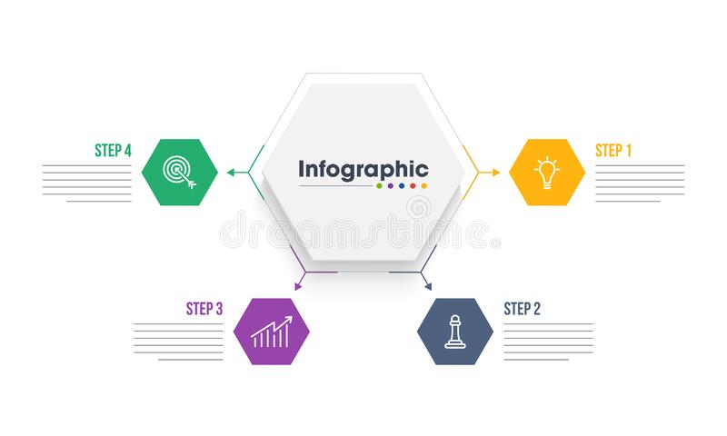 Quatro etapas diferentes de elementos infographic para o negócio ou incorporados ilustração royalty free