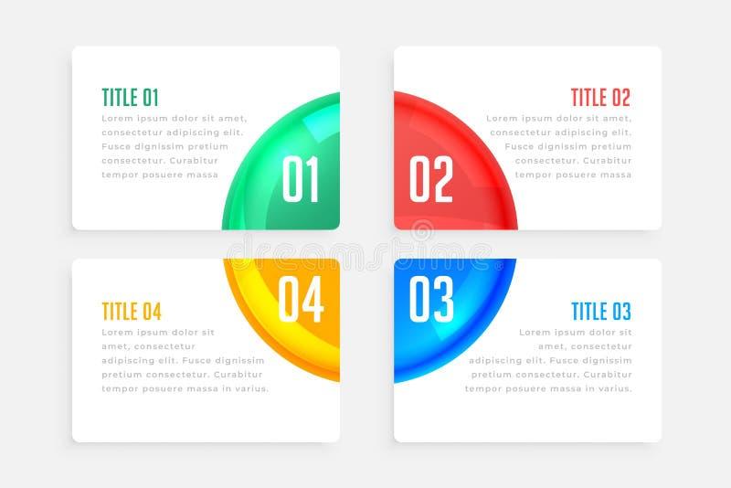 Quatro etapas elegante modelo de design infográfico ilustração do vetor