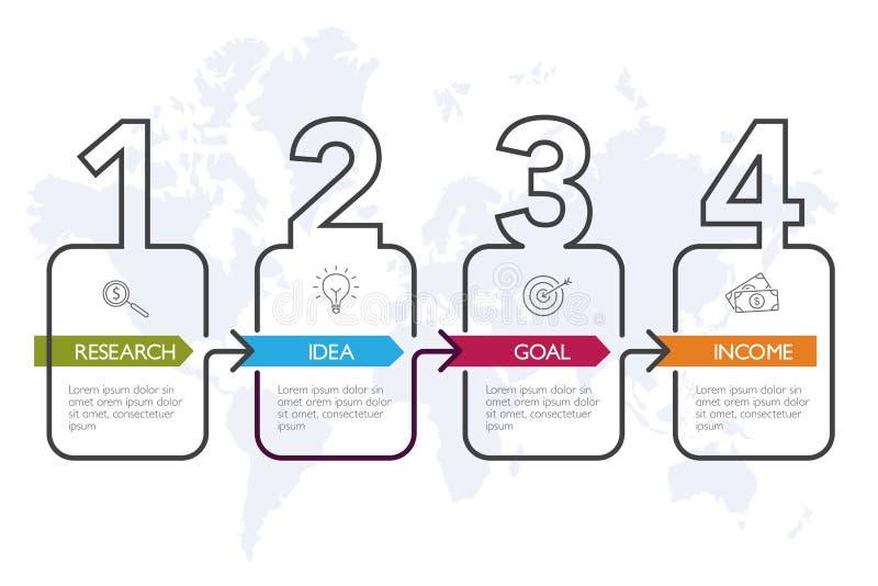 Quatro etapas Infographics - marcos miliários da empresa ilustração do vetor