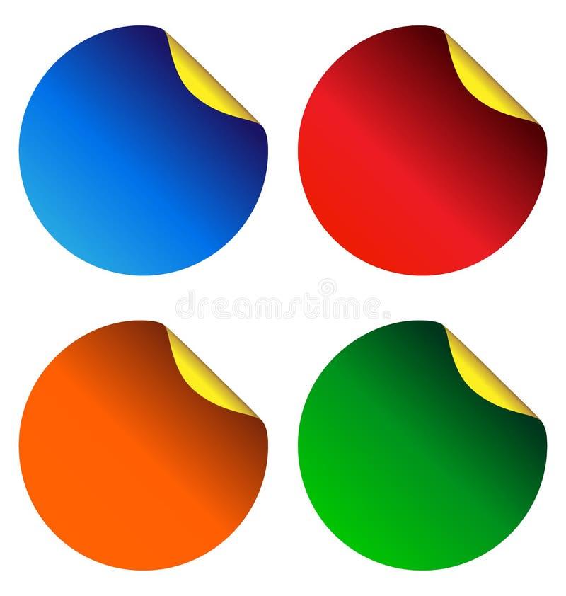 Quatro etiquetas coloridos isoladas no branco ilustração stock