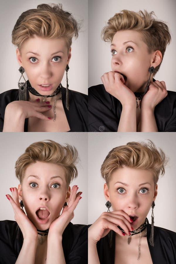 Quatro expressões faciais emocionais da mulher ajustadas foto de stock