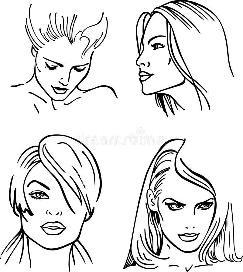 Quatro faces esboçadas mulheres () ilustração stock