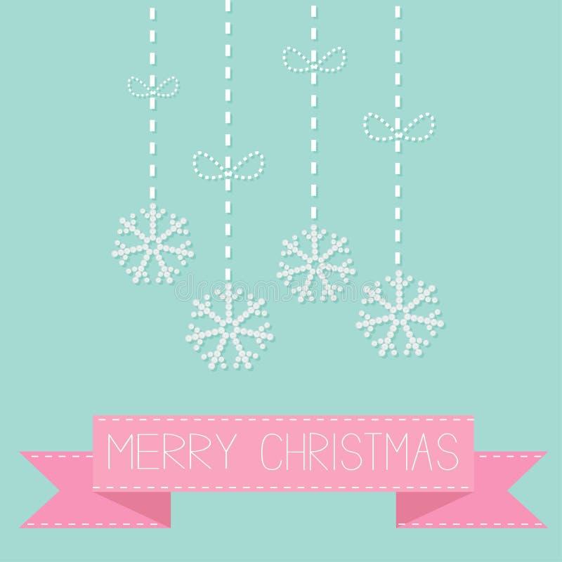 Quatro flocos de neve de suspensão com linha do traço curvam-se na fita cor-de-rosa azul Cartão do Feliz Natal Projeto liso ilustração do vetor