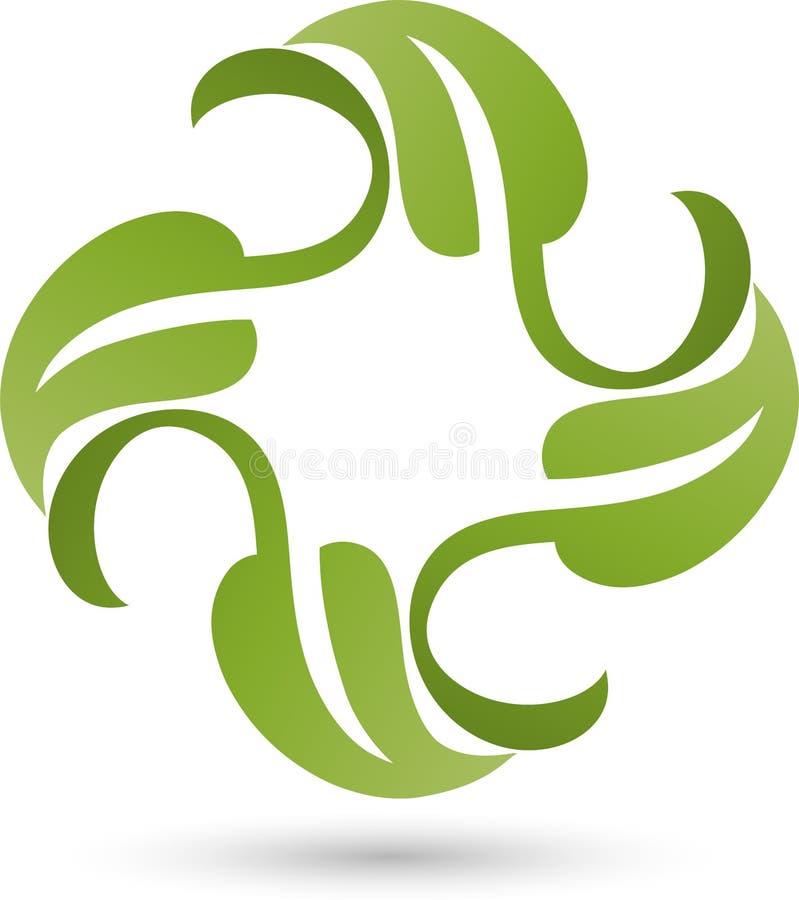Quatro folhas, plantas, naturezas e jardineiro Logo ilustração stock