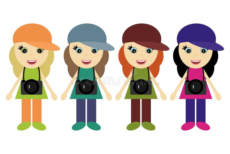 Quatro fotógrafo das meninas ilustração stock