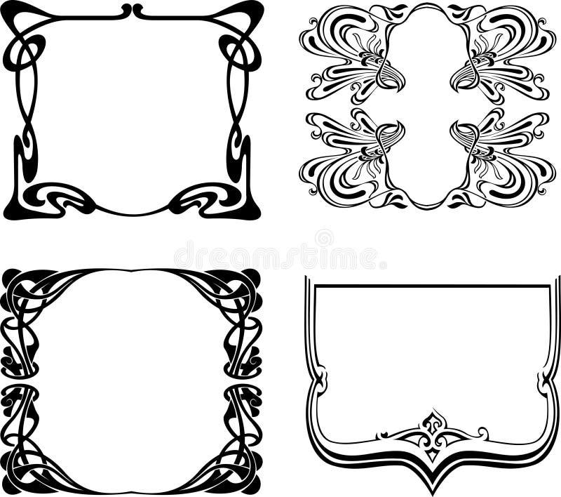 Quatro frames preto e branco do art deco. ilustração do vetor