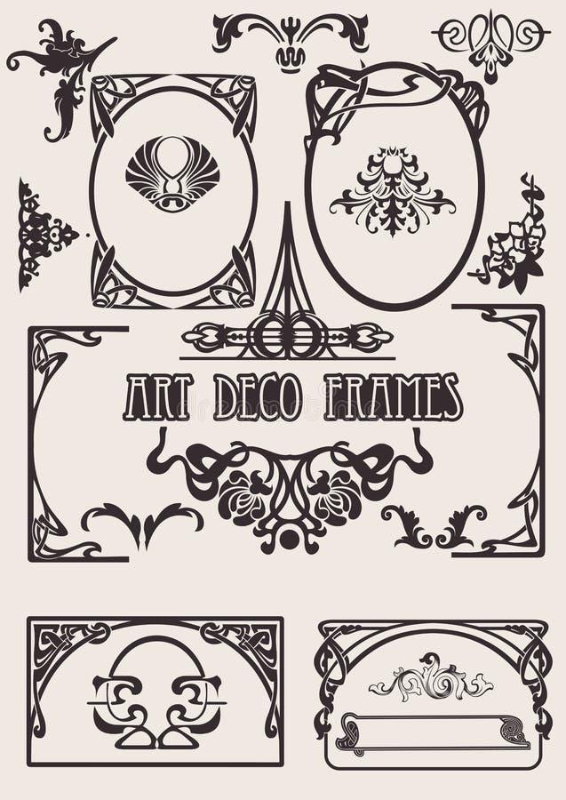 Quatro frames preto e branco do art deco. ilustração stock
