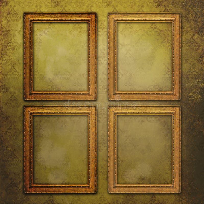 Quatro frames vazios no papel de parede do vintage imagens de stock