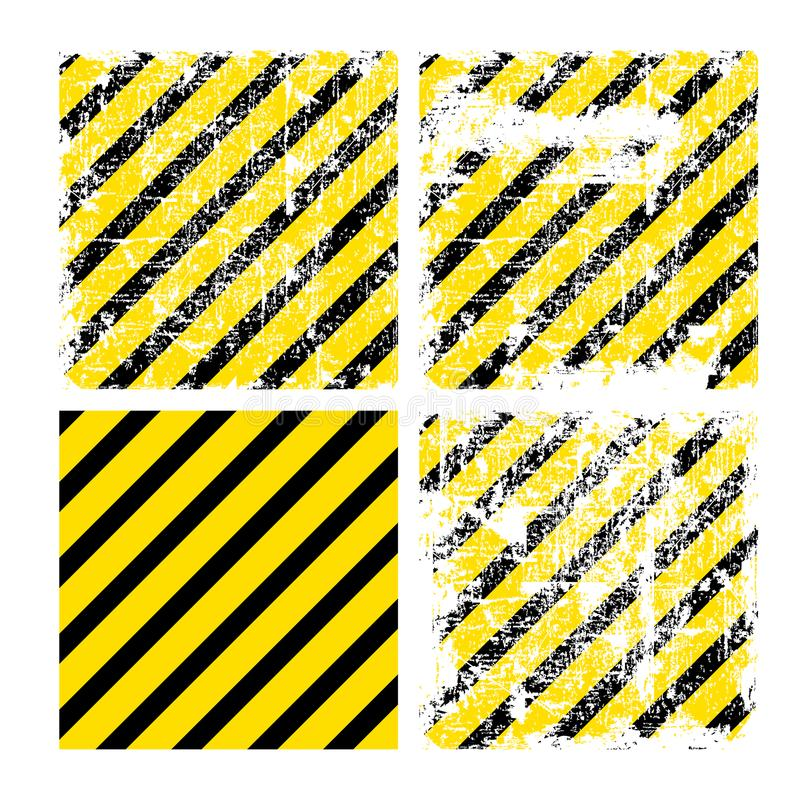 Quatro fundos amarelos quadrados do vetor com as listras pretas com va ilustração stock