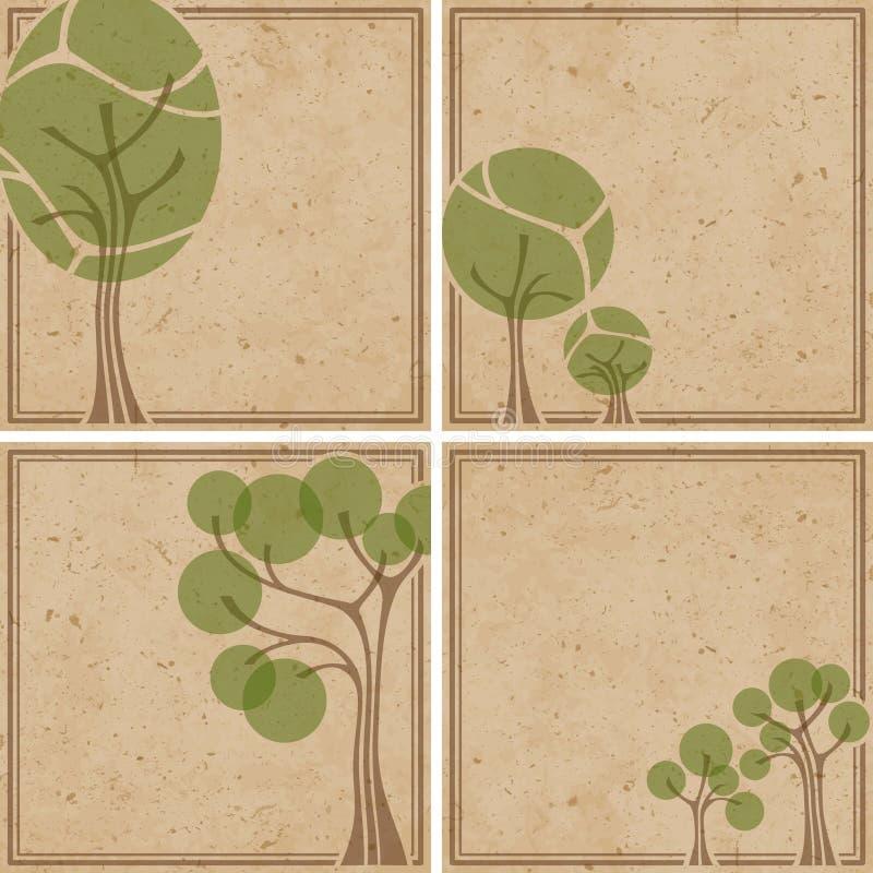 Quatro fundos ambientais no papel grosseiro ilustração stock