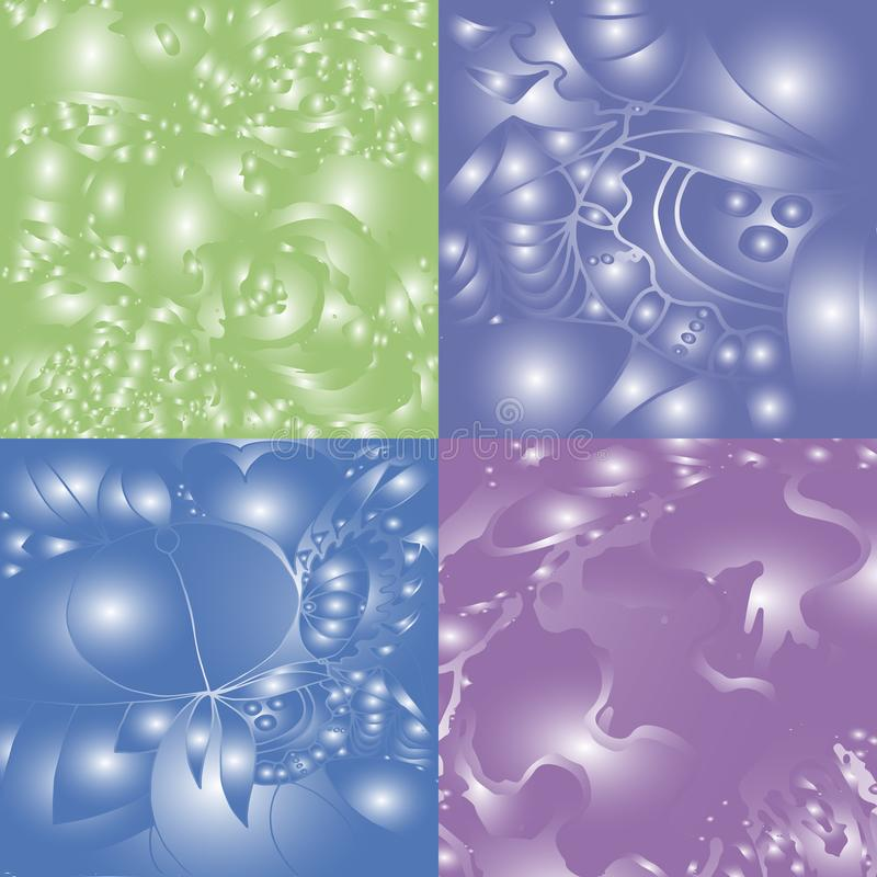 Quatro fundos diferentes da cor com brilho e testes padrões ilustração stock