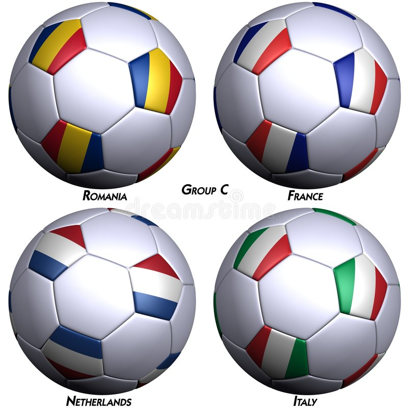 Quatro futebol-esferas com bandeiras ilustração royalty free