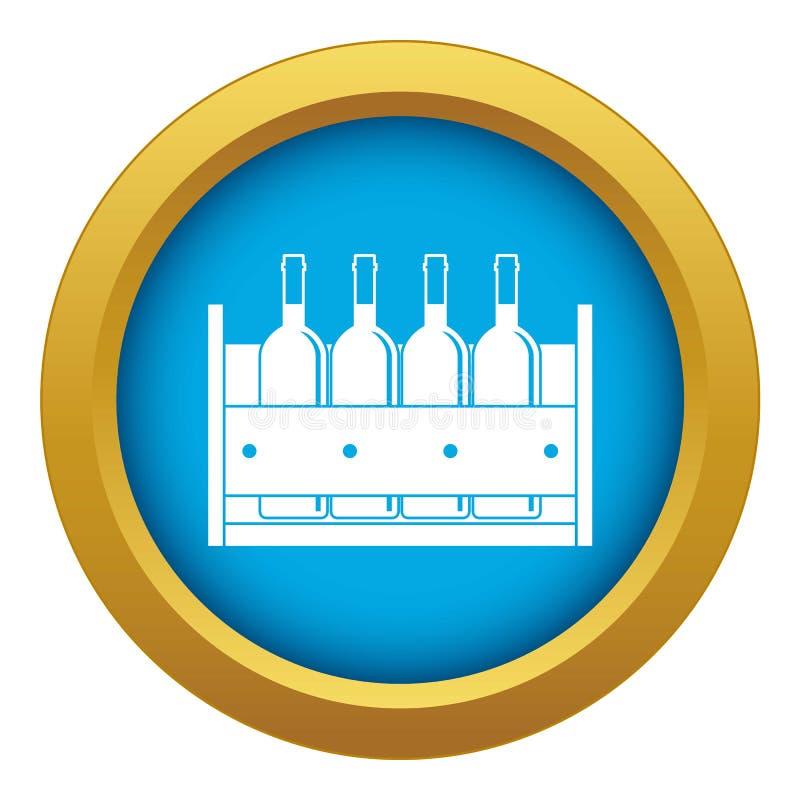 Quatro garrafas do vinho em um vetor azul do ícone da caixa de madeira isolado ilustração royalty free