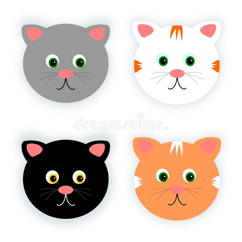 Quatro gatos ilustração royalty free