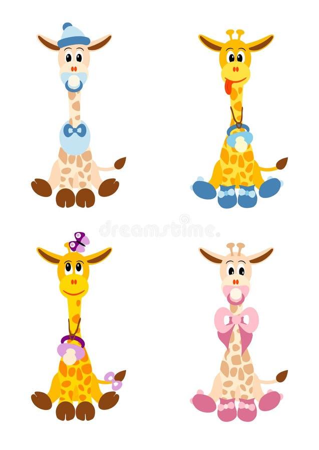Quatro giraffes pequenos gostam de bebês recém-nascidos ilustração stock
