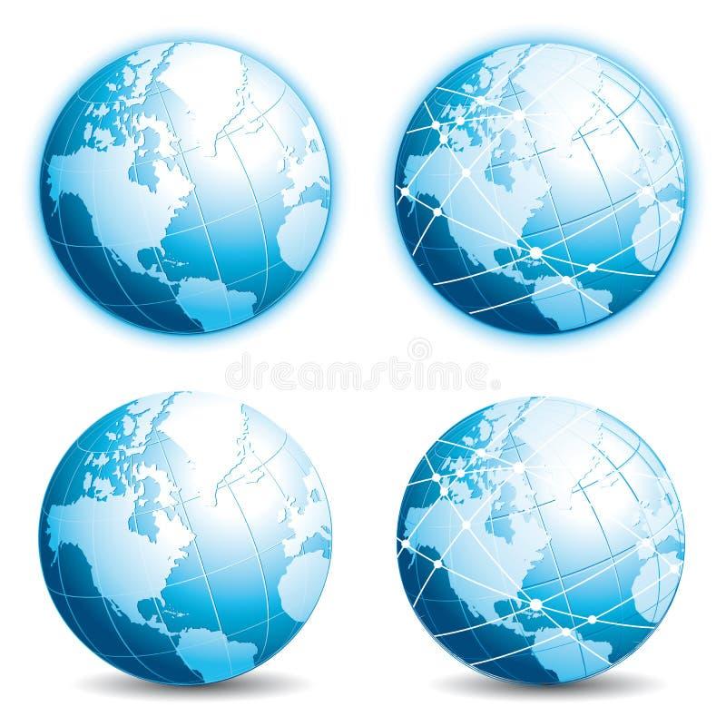 Quatro globos azuis ?cones do mundo ajustados Eaarth e conectividade ilustração stock