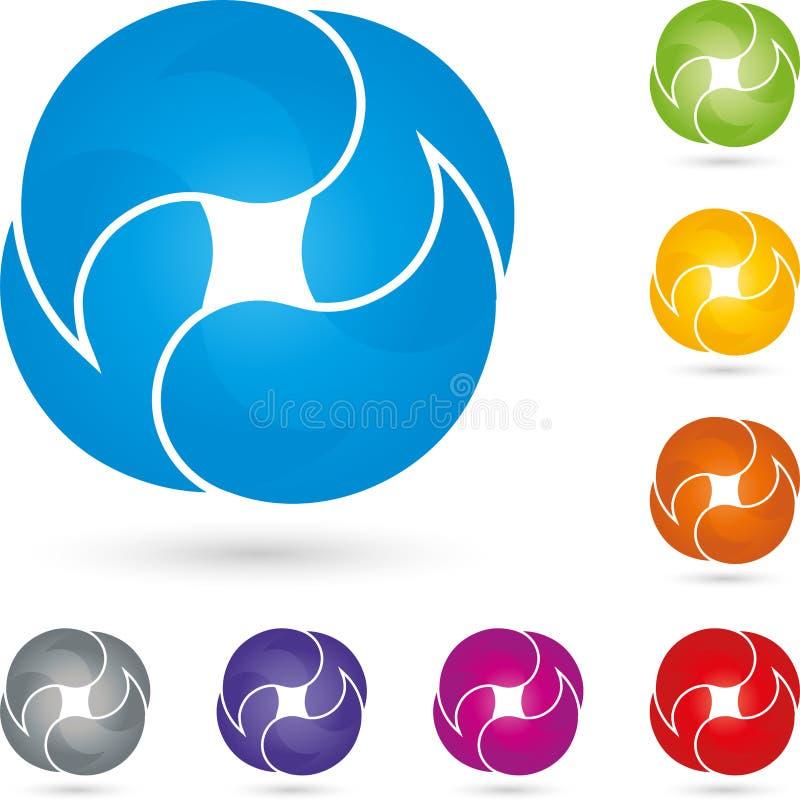 Quatro gotas, coloridas, multimédios e logotipo dos serviços ilustração do vetor