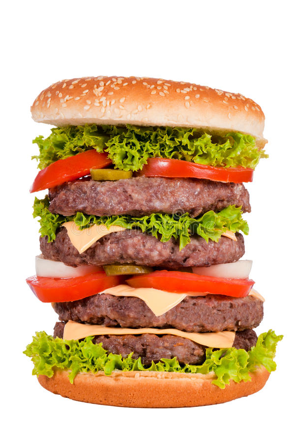 Quatro hamburgueres fotografia de stock